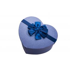 علبة هدية باللون الازرق على شكل قلب